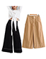 Trendy Khaki Pure Color Decorated Loose Pants