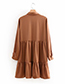 Trendy Coffee Pure Color Design Long Sleeves Dress