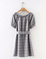 Trendy Gray Off Shoulder Design Grid Pattern Dress