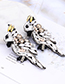 Fashion White Beads Decorated Bird Shape Earrings