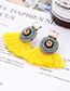 Fashion Green Round Shape Decorated Tassel Earrings