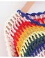 Fashion Multi-color Hollow Out Design Stripe Pattern Sweater