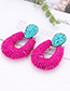 Fashion Blue+plum Red Waterdrop Shape Decorated Earrings