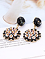 Fashion Pink Flower Shape Decorated Round Earrings