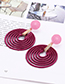 Fashion Dark Purple Round Shape Decorated Hollow Out Earrings