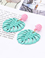 Fashion Coffee Leaf Shape Decorated Earrings
