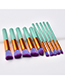 Fashion Green Flat Shape Decorated Makeup Brush(10pcs)