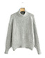 Fashion Gray High-neckline Design Pure Color Sweater