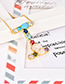 Fashion V Gold Copper Inlaid Zircon Letter Necklace Large