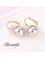 Fashion White Plated Gold Pearl Earrings