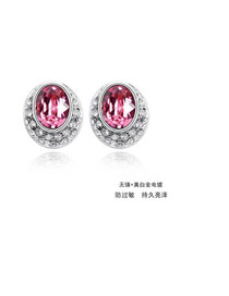 Lovable light Plum Red Earrings Alloy Crystal Earrings