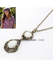 Cocktail Bronze Retro Mirror Shape Alloy Bib Necklaces