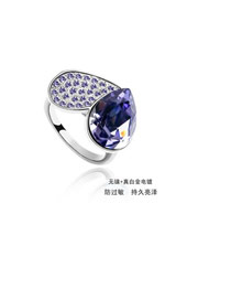 Emerald pale pinkish purple pale pinkish purple purple purple + small drill Crystal Elements Alloy Crystal Rings