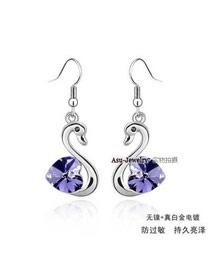 Highwaist pale pinkish purple violet Purple Earrings Alloy Crystal Earrings