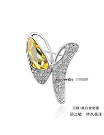 Brown Gold Color Brooch Alloy Crystal Brooches