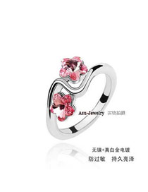 Affordable light red Pentagram Shape Flower Design alloy Crystal Rings