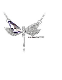 Simple pale pinkish Purple Flying Dragonfly Crystal Crystal Necklaces