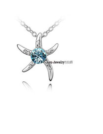 Homecoming navy Blue Love Starfish Crystal Crystal Necklaces