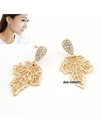 Lush Gold Color Vogue Hollow Out Leaf Shape Alloy Stud Earrings