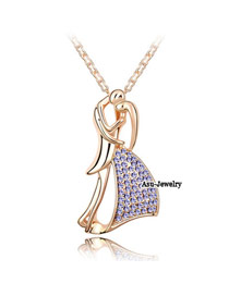 Homecoming pale pinkish purple Gold Color Tanabata Lovers Crystal Crystal Necklaces