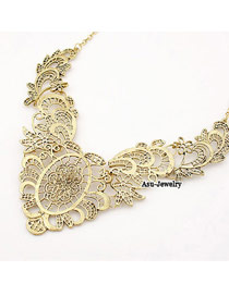 24K Gold Color Hollow Out Alloy Korean Necklaces