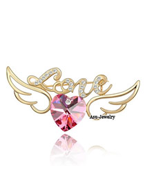 Monogramme rose red Red Brooch Alloy Crystal Brooches