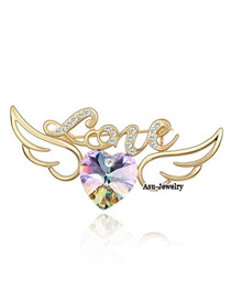 Promise purple light Purple Brooch Alloy Crystal Brooches