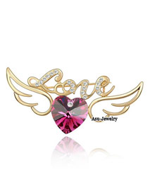 Oval purplish red Purple Brooch Alloy Crystal Brooches