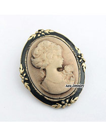 Recycled Bronze Lady Relief Alloy Korean Brooches