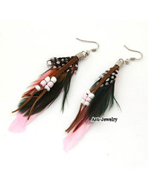 Fine Pink Feather Decorated With Bead Charm Alloy Korean Earrings