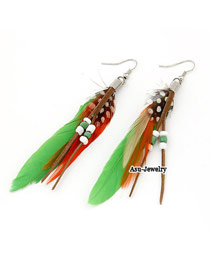 Mysterious Green Feather Decorated With Bead Charm Feather Korean Earrings
