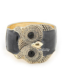 Plus Size Black Owl Alloy Fashion Bangles