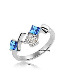 Greek Blue Austrian Crystals Alloy Crystal Rings