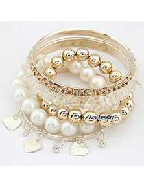 Dash Gold Color Pearl   Break Stone Alloy Fashion Bangles