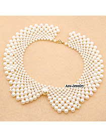 Extra White Handmade  Imitate Pearl False Collar  Beaded Necklaces