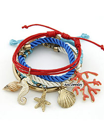 Disposable Red Shell Multi Pendant Alloy Korean Fashion Bracelet