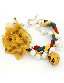 Steelers Yellow Flower Skull Head Lace Korean Fashion Bracelet