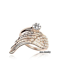 Elastic White Wings Alloy Crystal Rings