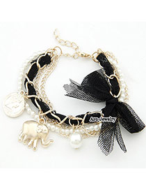 Indian Black Bow Elephant Design Lace Korean Fashion Bracelet