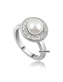 Diaper White Pearl Alloy Crystal Rings