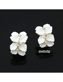Caterpilla White Flower Design Alloy Stud Earrings