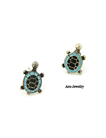 Creative Blue Tortoise  Design Alloy Stud Earrings