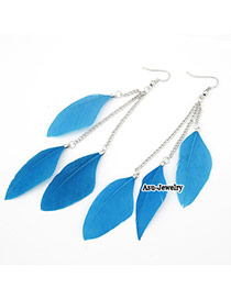 Exquisite Skyblue Color Feather Charm Design Feather Korean Earrings