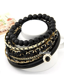 Light Black Bead Multilayer Alloy Fashion Bangles