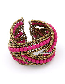 2011 Plum Red Handmade Bead Alloy Fashion Bangles