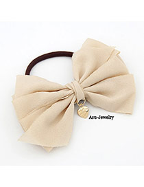 Special Beige Bow Tie Ponytail Cloth Hair band hair hoop