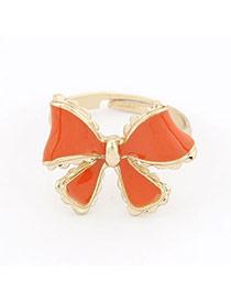 Timeless Orange Bow Alloy Korean Rings