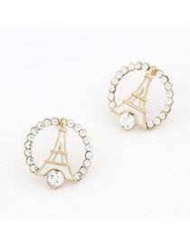 Fashion White A Shape Iron Tower Design Alloy Stud Earrings