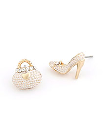 Pretty Beige Sweet High Heels Bags Asymmetry