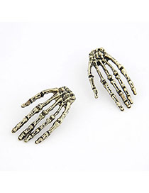 Reversible Bronze Human Skeleton Hand Alloy Stud Earrings